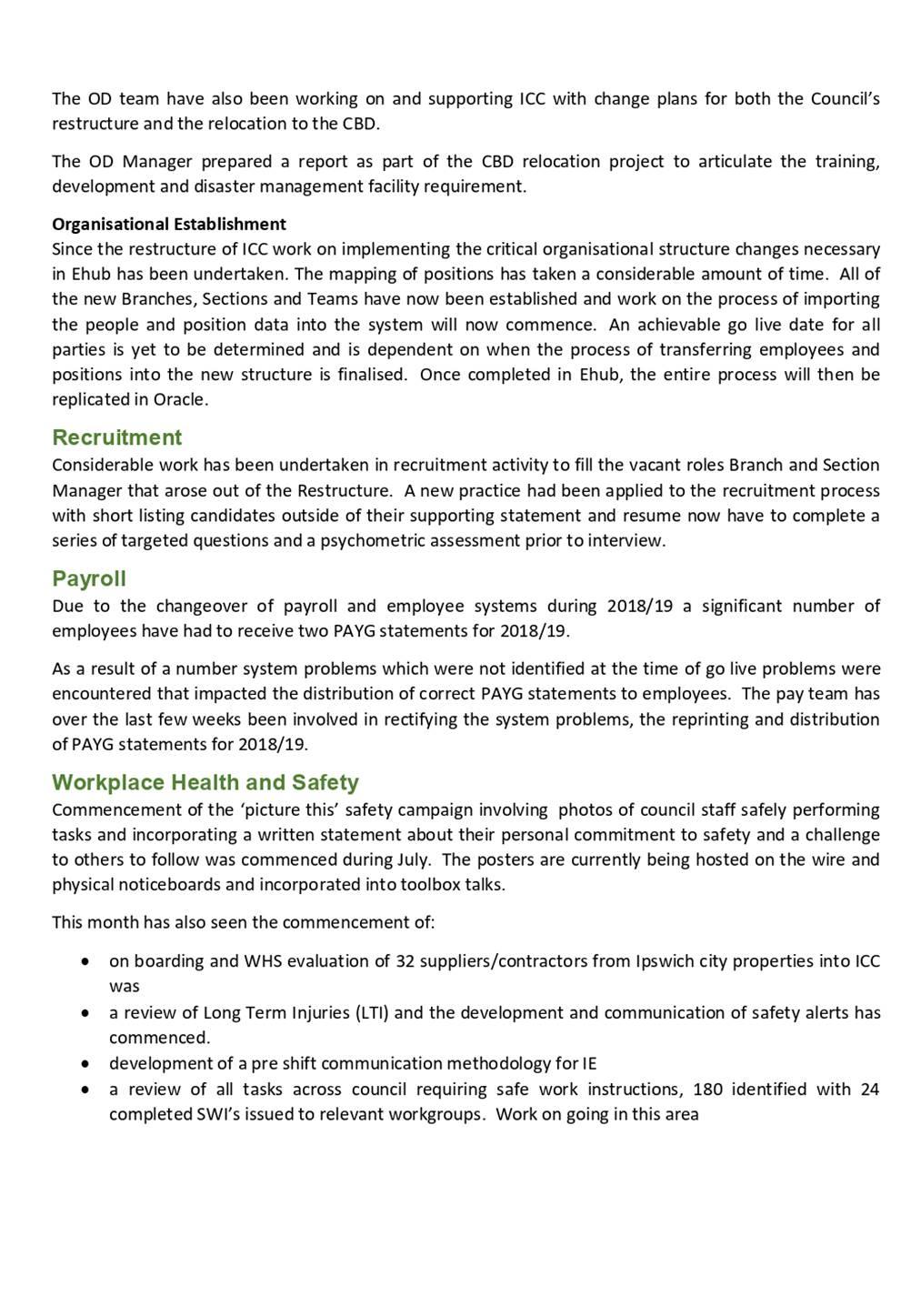 Agenda Of Governance Committee 13 August 2019